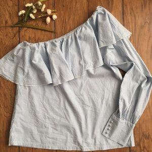 •LOFT• one sleeve striped blouse